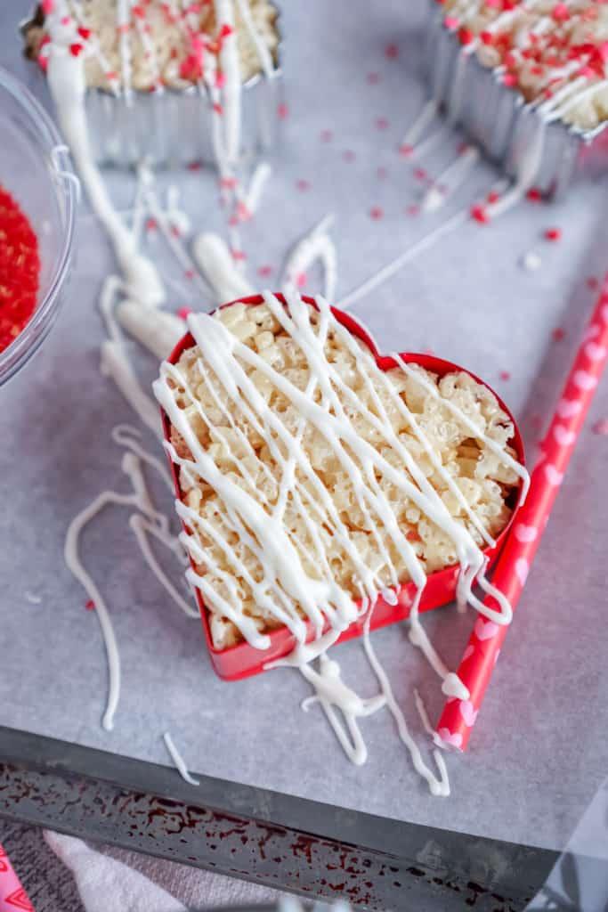 No Bake Rice Krispie Hearts- Balancing Pieces
