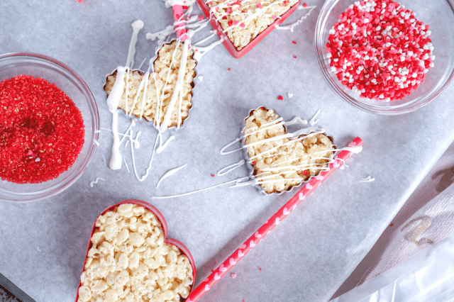 No Bake Rice Krispie Hearts