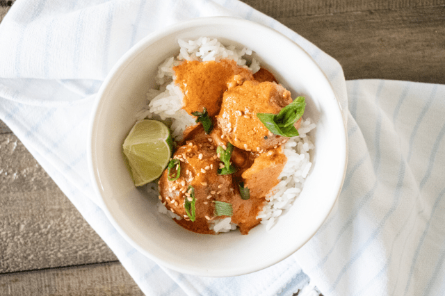 Thai Turkey Meatballs w/ Red Curry Sauce