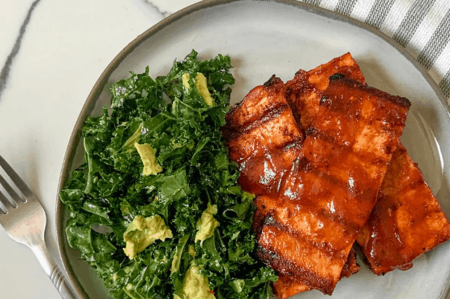 BBQ Tofu Steaks With Avocado Kale Salad