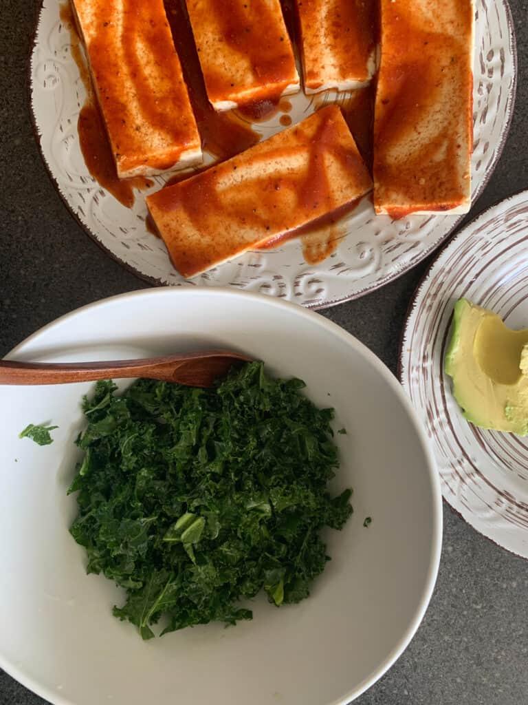 BBQ Tofu Steaks With Avocado Kale Salad